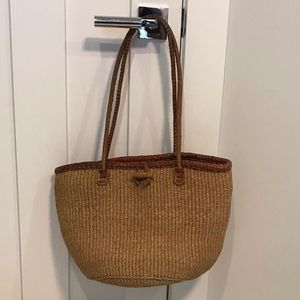 Vintage Woven Straw & Leather Tote Bag
